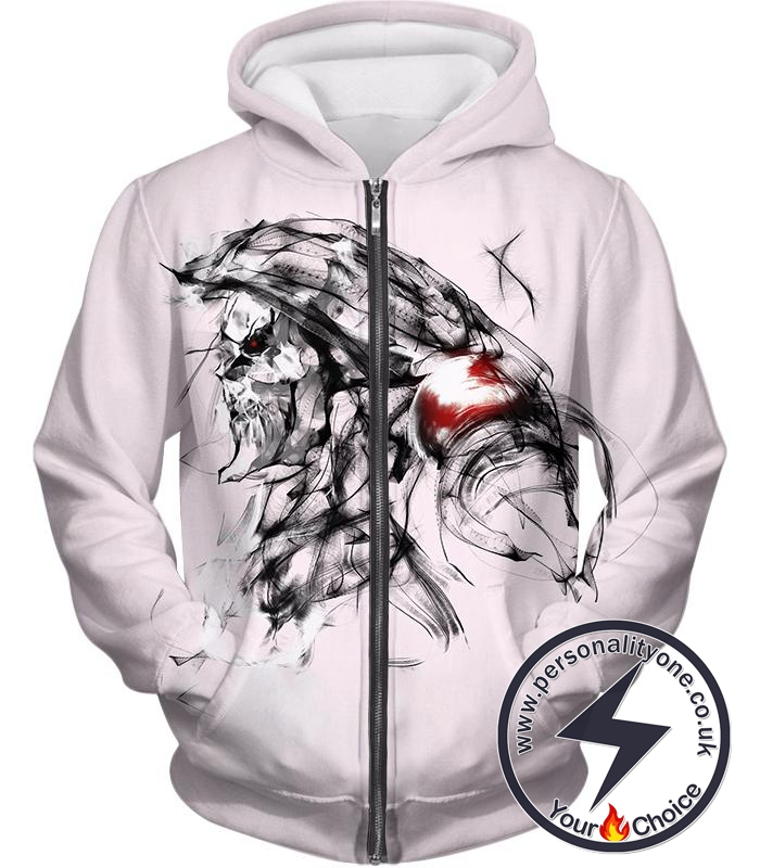 Overlord Ainz Ooal Gown Cool Anime Character Sketch Promo White Zip Up Hoodie