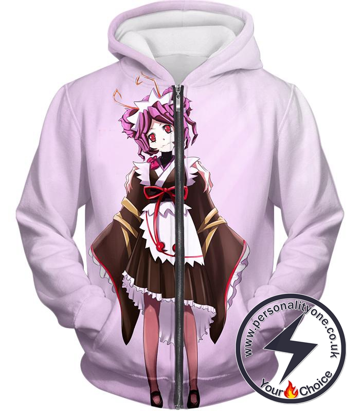 Overlord Super Cool Entoma the Spider-Human Battle Maid Promo White Zip Up Hoodie