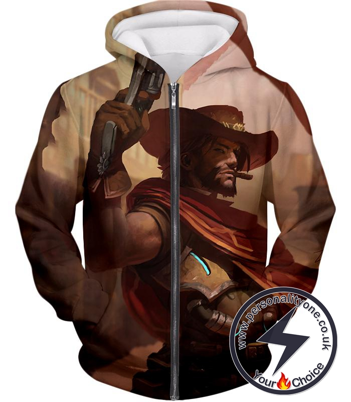 Overwatch Awesome Bounty Hunter Jesse McCree Cool Action Zip Up Hoodie