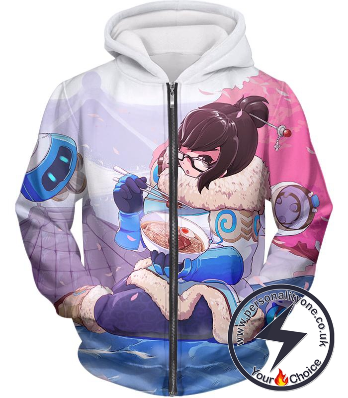 Overwatch Cute Defense Hero Climatologist Mei Zip Up Hoodie
