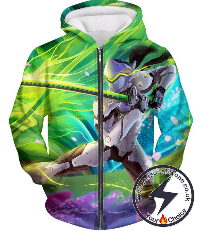 Overwatch Cyborg Ninja Fighter Genji Zip Up Hoodie
