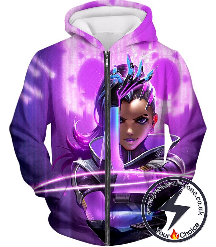 Overwatch Deadly Attacker Sombra Zip Up Hoodie