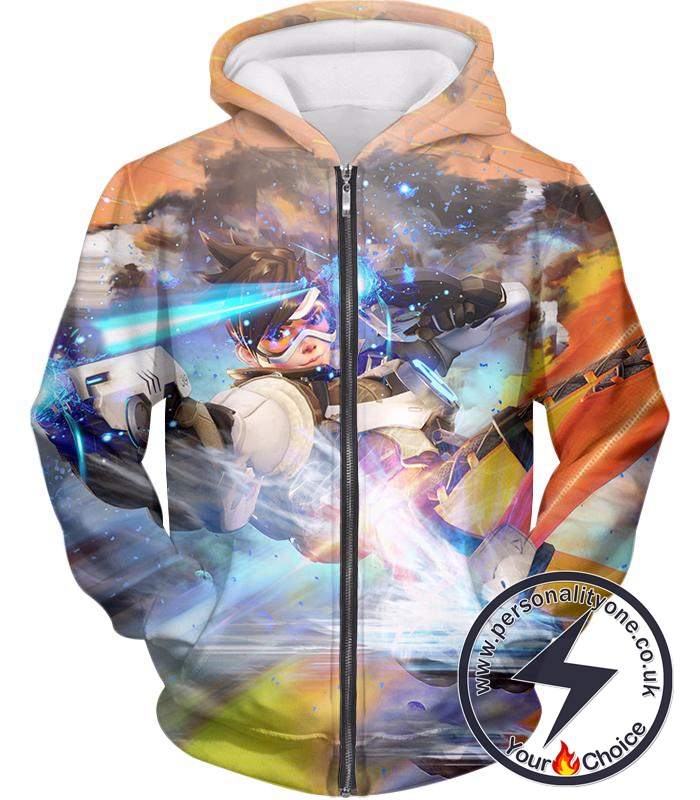 Overwatch Fastest Attack Hero Tracer Zip Up Hoodie