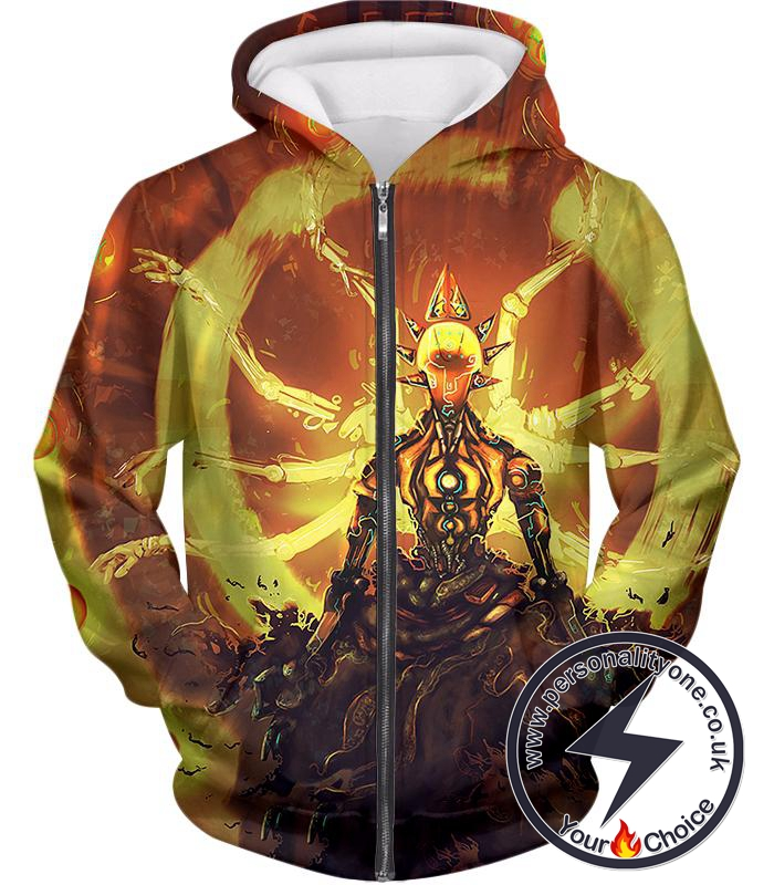 Overwatch Powerful Robot Wandering Guru Zenyatta Zip Up Hoodie