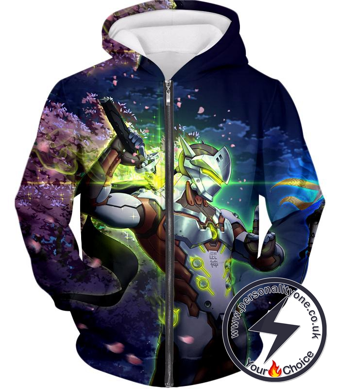 Overwatch Skilled Ninja Warrior Cyborg Genji Awesome Action Zip Up Hoodie