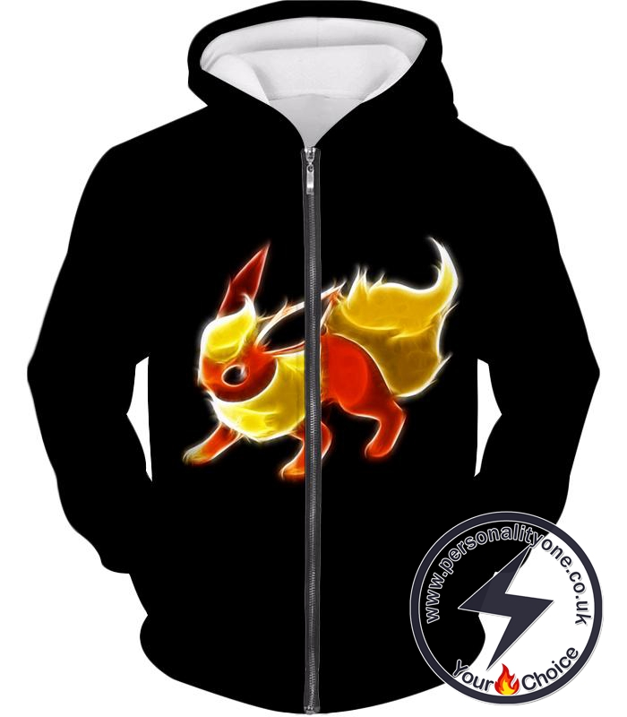 Pokemon Awesome Fire Type Eevee Evolution Flareon Cool Black Zip Up Hoodie
