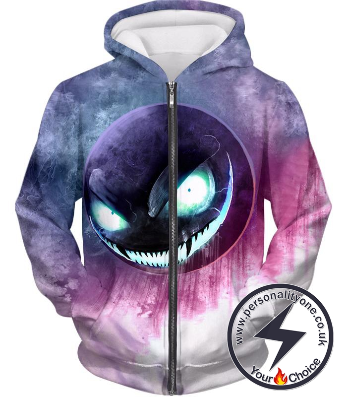 Pokemon Awesome Ghost Pokemon Ghastly Ultimate HD Graphic Anime Zip Up Hoodie