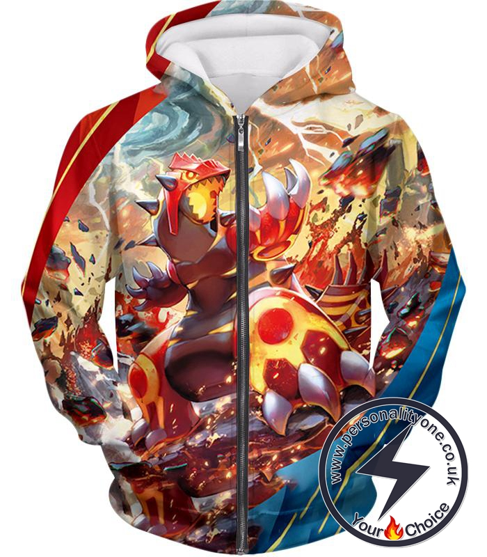 Pokemon Awesome Pokemon Legendary Red Blazing Groudon Action Zip Up Hoodie