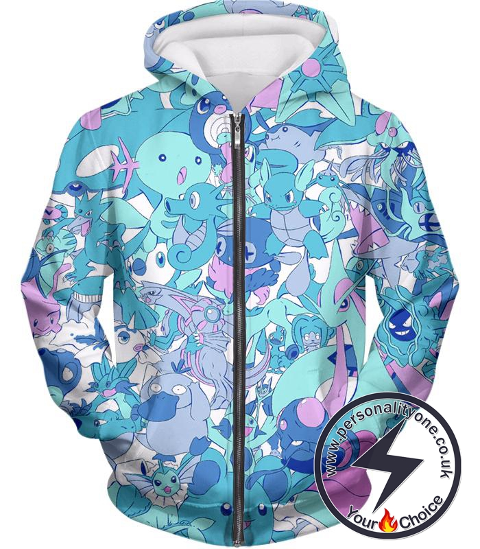 Pokemon Cool All in One Water Pokemons Promo Anime Zip Up Hoodie