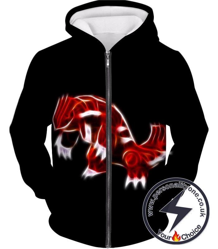 Pokemon Cool Legendary Continental Pokemon Groudon Awesome Black Zip Up Hoodie