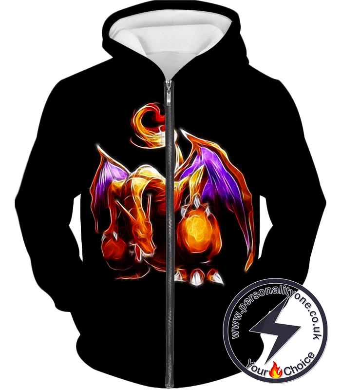 Pokemon Favourite Generation One Flying Fire Type Pokemon Charizard Cool Black Zip Up Hoodie