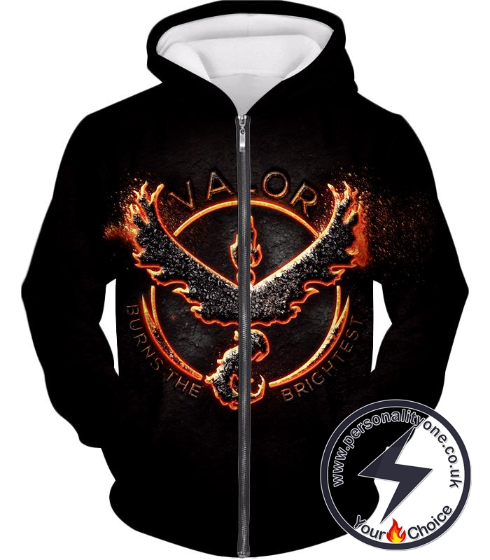 Pokemon Legendary Fire Pokemon Moltress Quoted Logo Super Cool Black Zip Up Hoodie