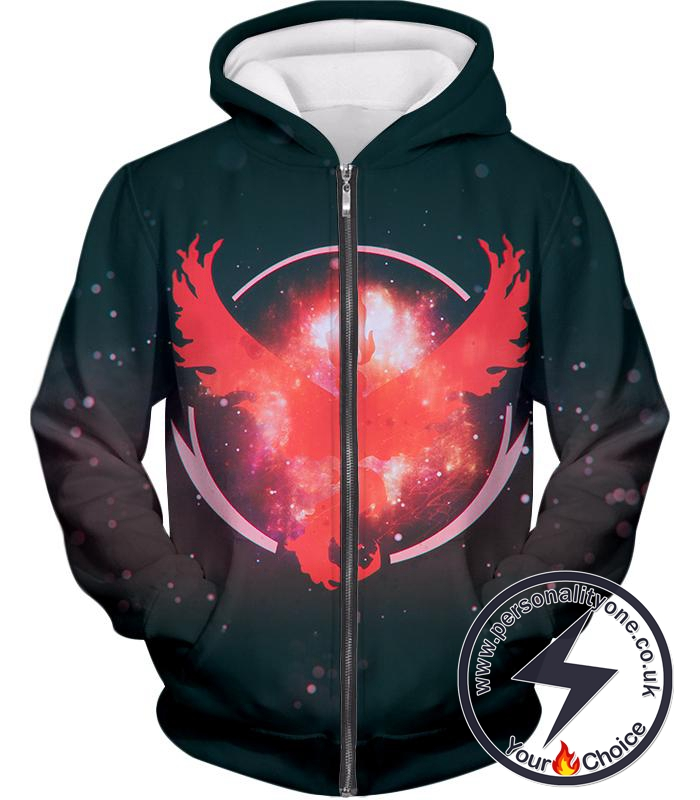 Pokemon Moltress the Legendary Fire Pokemon Logo Amazing Zip Up Hoodie