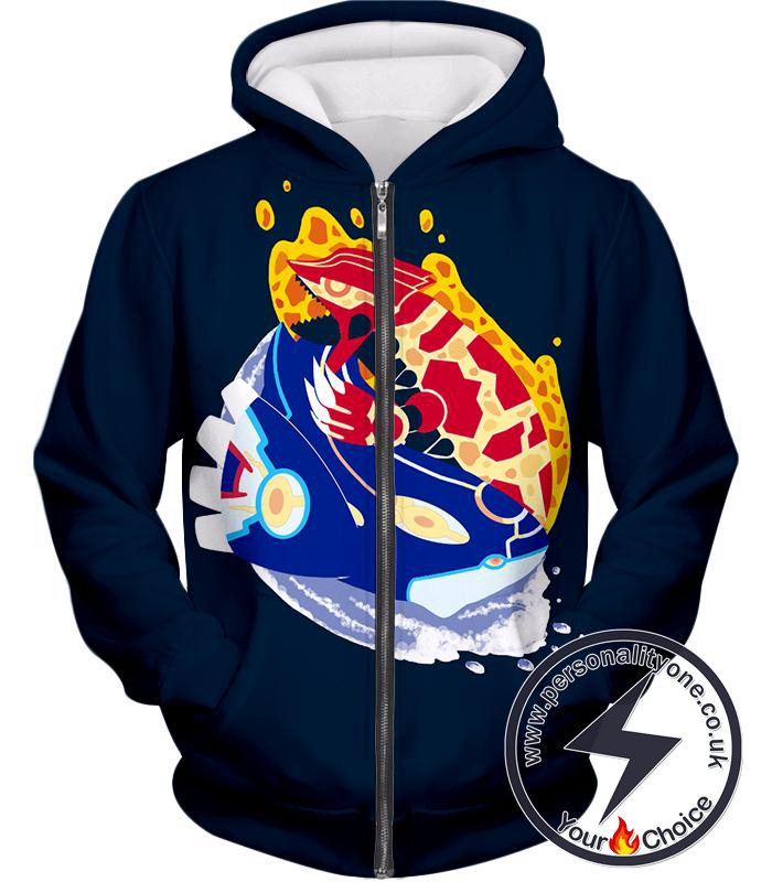 Pokemon Powerful Legendary Pokemons Groudon and Kyogre Cool Black Zip Up Hoodie