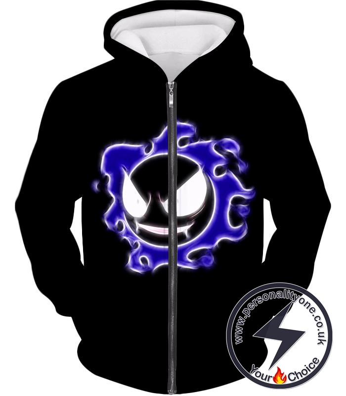 Pokemon Super Cool Ghastly Ghost Type Pokemon Awesome Black Zip Up Hoodie