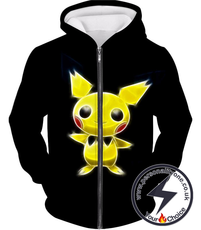 Pokemon Super Cute Thunder Pokemon Pichu Cool Black Zip Up Hoodie
