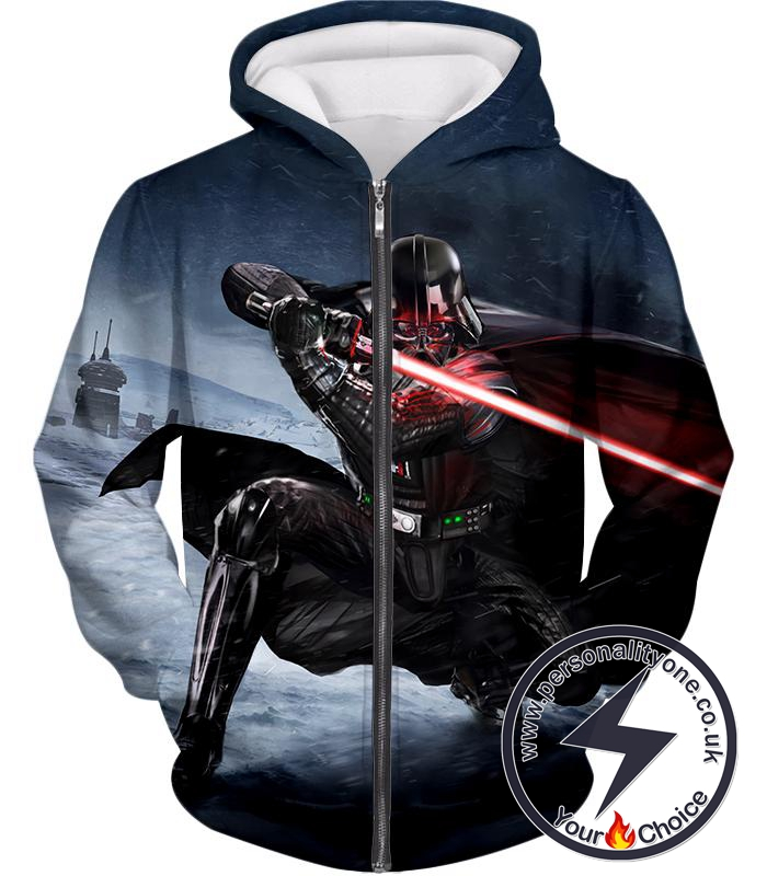 Star Wars Awesome Animated Darth Vader Action Graphic Zip Up Hoodie