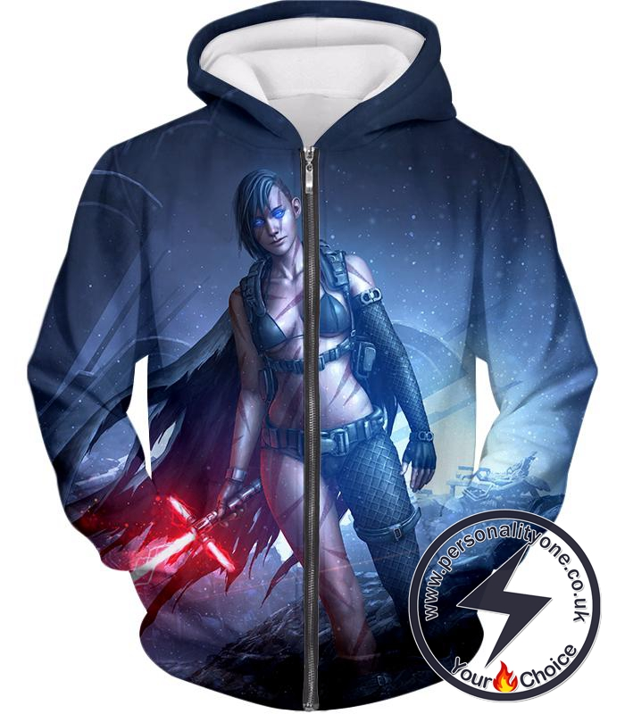 Star Wars Cool Fan Art 3D Female Sith Lord Kylo Jen Graphic Action Zip Up Hoodie