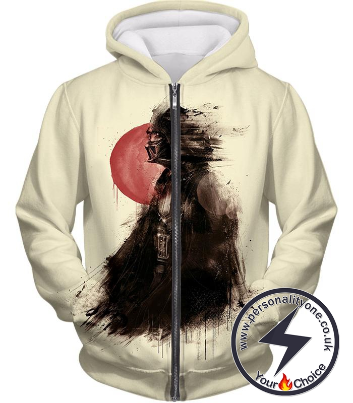 Star Wars Faded to the Dark Side Darth Vader Fan Art Awesome White Zip Up Hoodie
