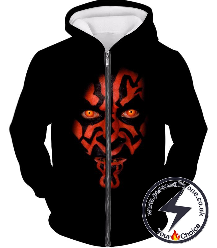 Star Wars Scary and Deadly Sith Lord Darth Maul Cool Promo Black Zip Up Hoodie