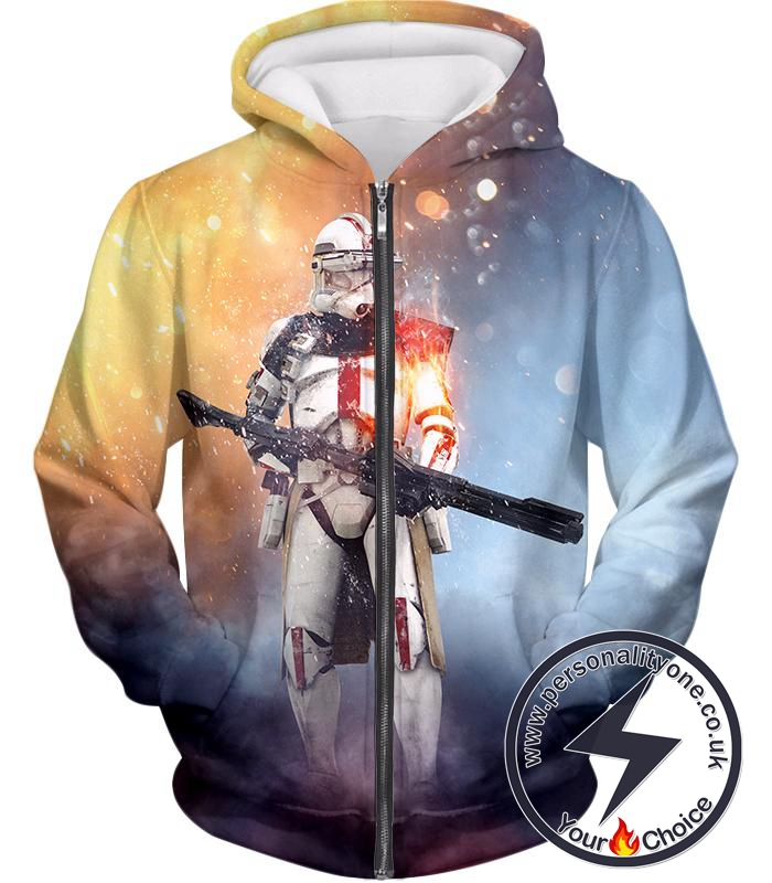 Star Wars Star Wars Clone Wars Cool Command Trooper Graphic Action Zip Up Hoodie