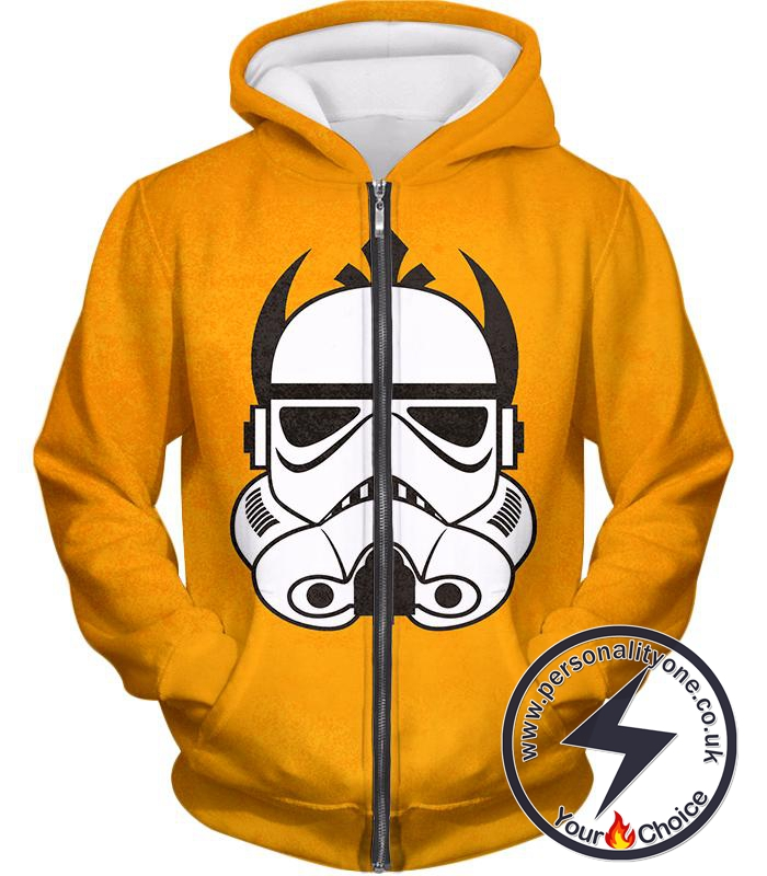 Star Wars Star Wars Clone Wars Promo Stormtrooper Mask Amazing Yellow Zip Up Hoodie