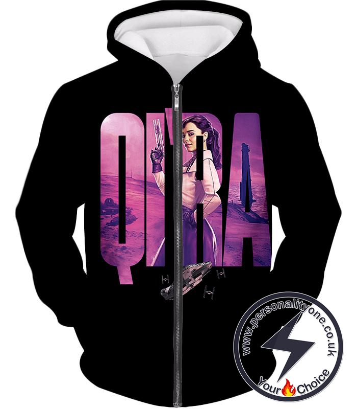 Star Wars Super Cool Character Promo Qira Awesome Black Zip Up Hoodie