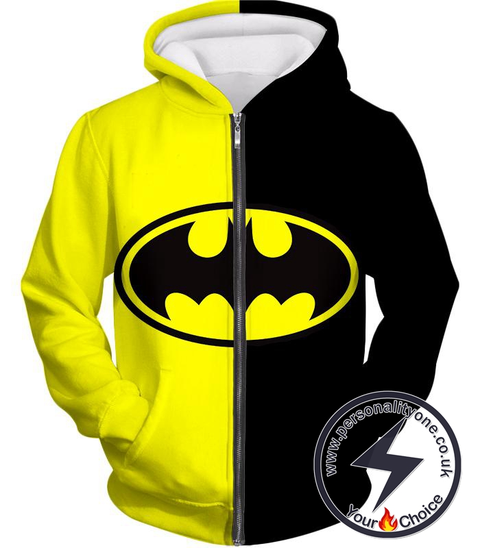 Super Cool Batman Logo Yellow Black Printed Zip Up Hoodie