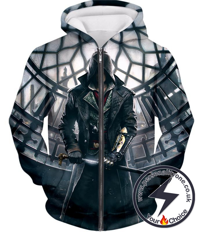 Super Cool Syndicate Assassin Jacob Frye Awesome Action Zip Up Hoodie