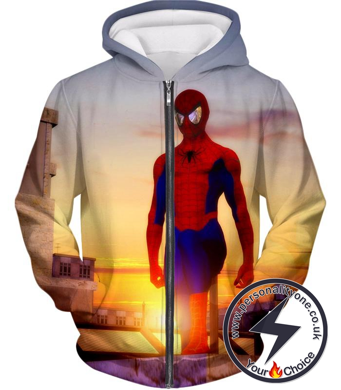 Superhero Spiderman From Dusk to Dawn Cool Zip Up Hoodie