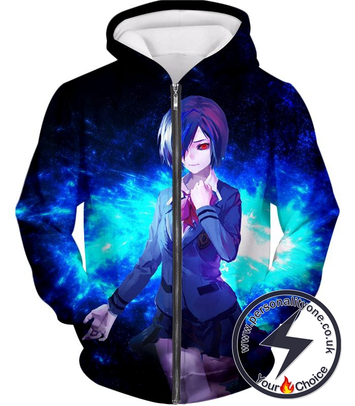 Tokyo Ghoul Beautiful Ghoul Touka Black Awesome Zip Up Hoodie
