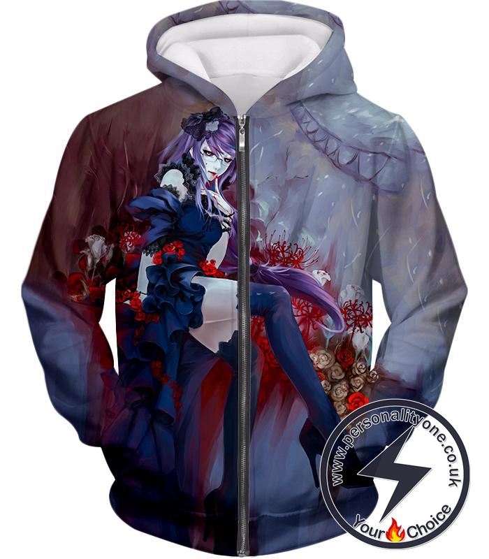 Tokyo Ghoul Beautiful and Dangerous Ghoul Rize Kamishiro Amazing Anime Art Printed Zip Up Hoodie