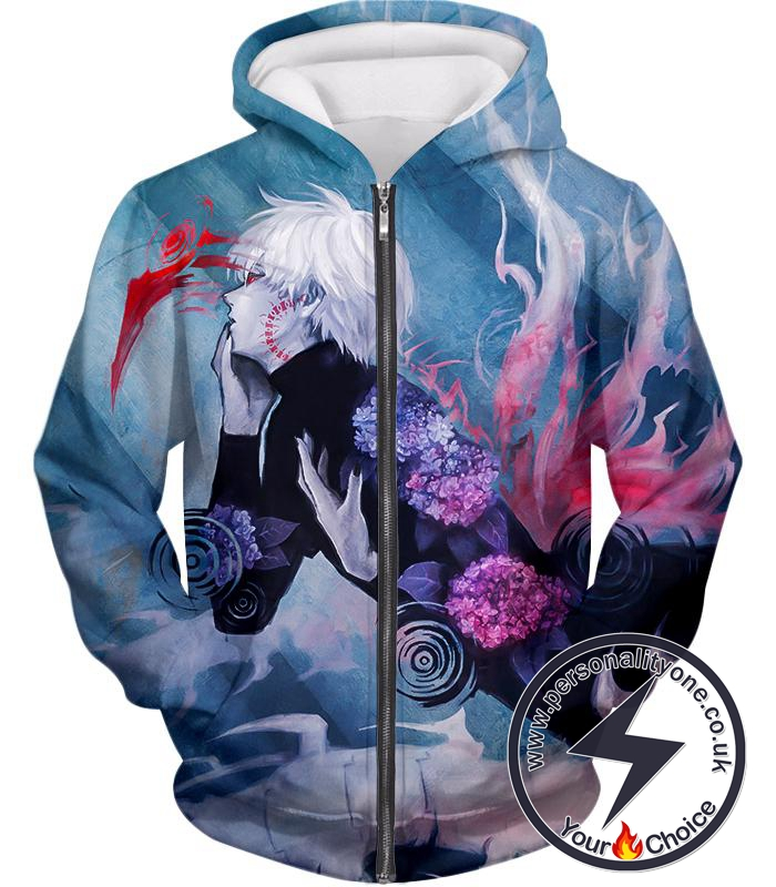 Tokyo Ghoul Cool Anime Graphic Promo Ken Kaneki Awesome Printed Zip Up Hoodie