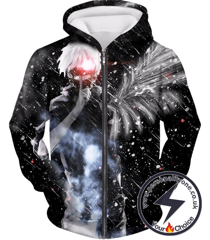 Tokyo Ghoul Ken Kaneki Super Cool Blizzard Patterned Zip Up Hoodie