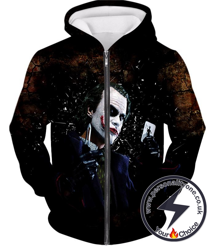 Ultimate Super Villain The Joker HD Print Zip Up Hoodie
