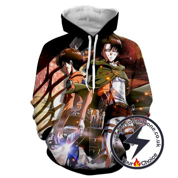 Attack On Titan - Eren & Levi Ackerman 3D - Attack On Titan Hoodies
