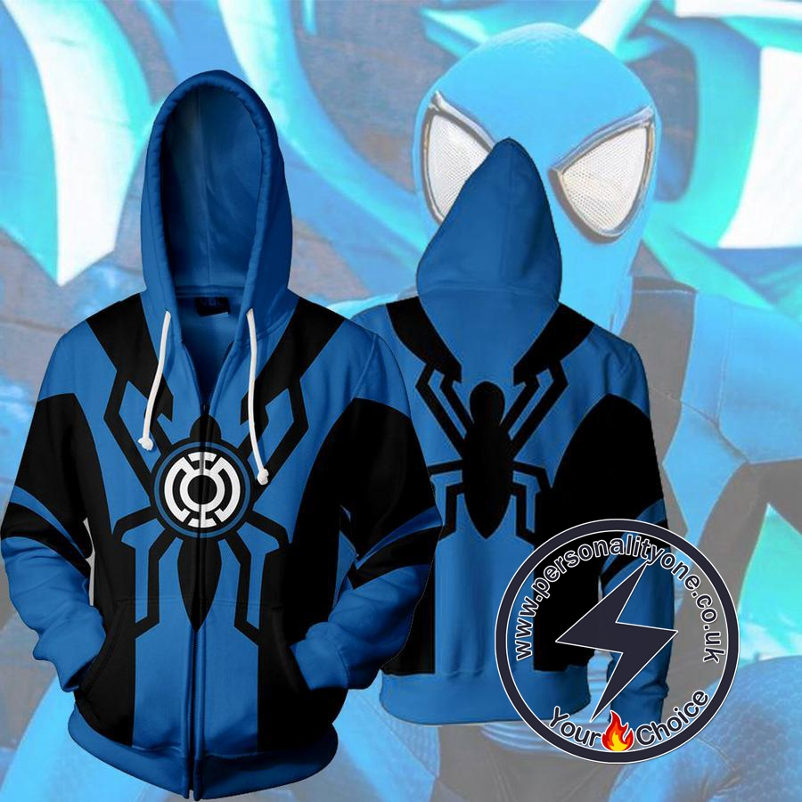 BLUE LANTERN SPIDERMAN 3D Hoodies Jackets - ZIP UP - SPIDERMAN 3D