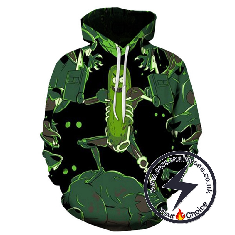 Best Seller Pickle Rick 3D Black Hoodie