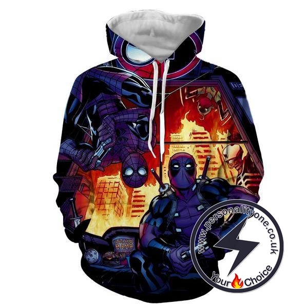 DEADPOOL & SPIDERMAN 3D Hoodies - ZIP UP - SPIDERMAN 3D