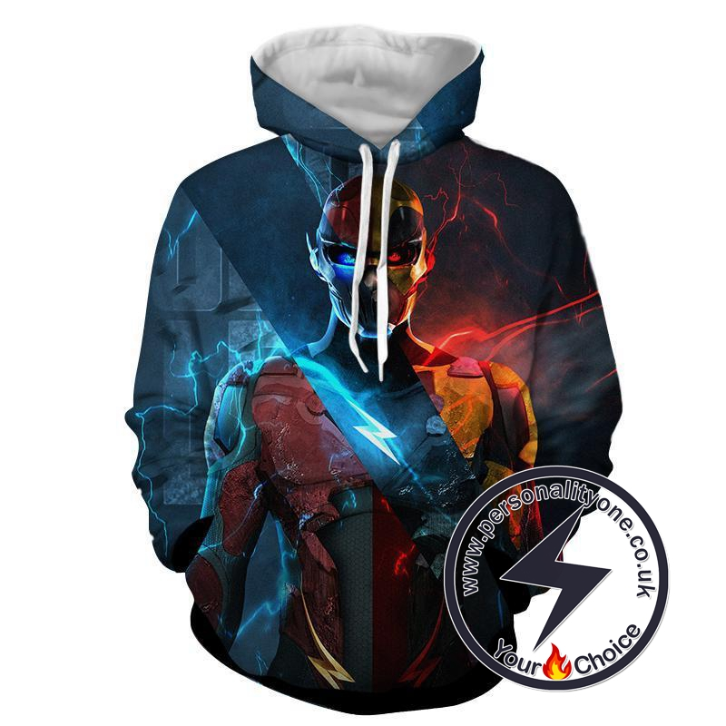 Flash 3D Printed Neon - The Flash Hoodies - Star Lab