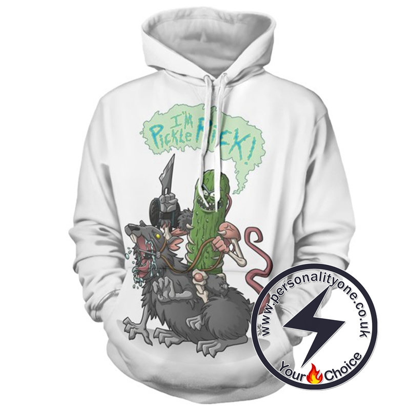 Hot Pickle Rick White 3D Hoodie