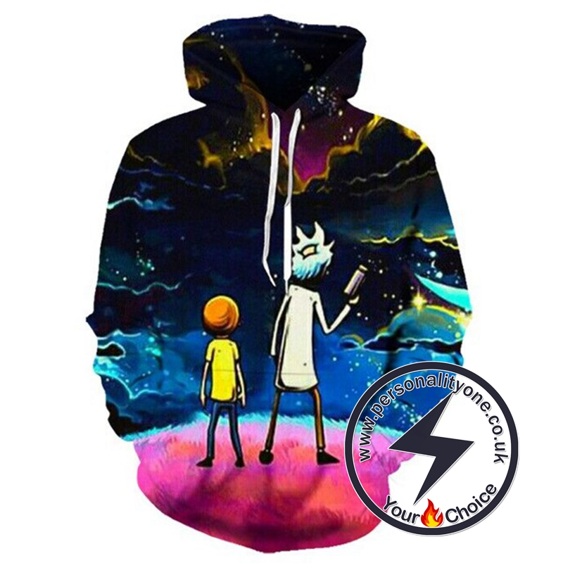 Hot RickAMorty 3D Galaxy Hoodie