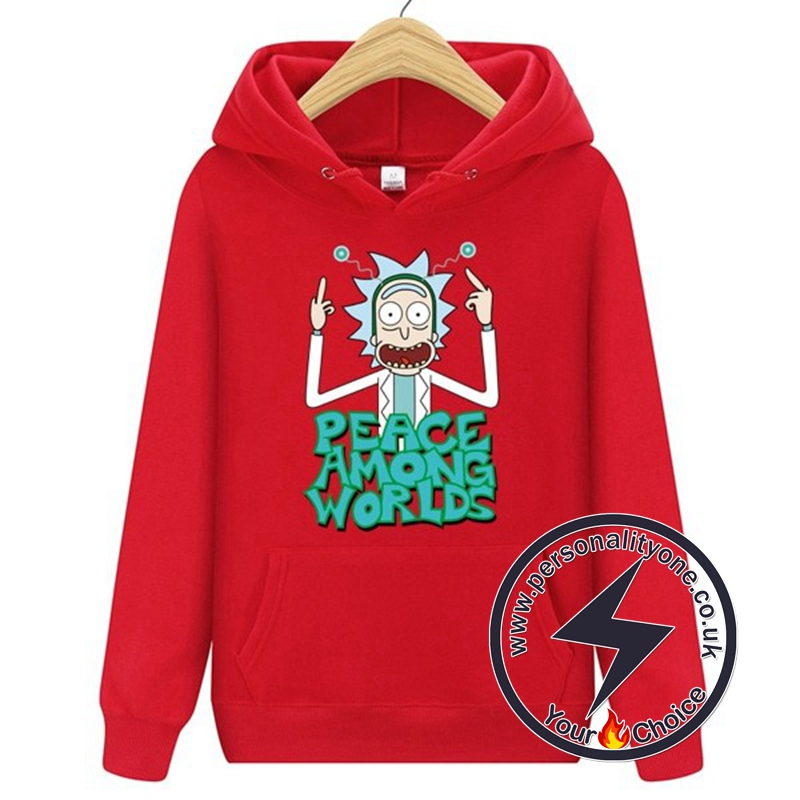 New Peace Among Worlds Rick And Morty Hoodies red