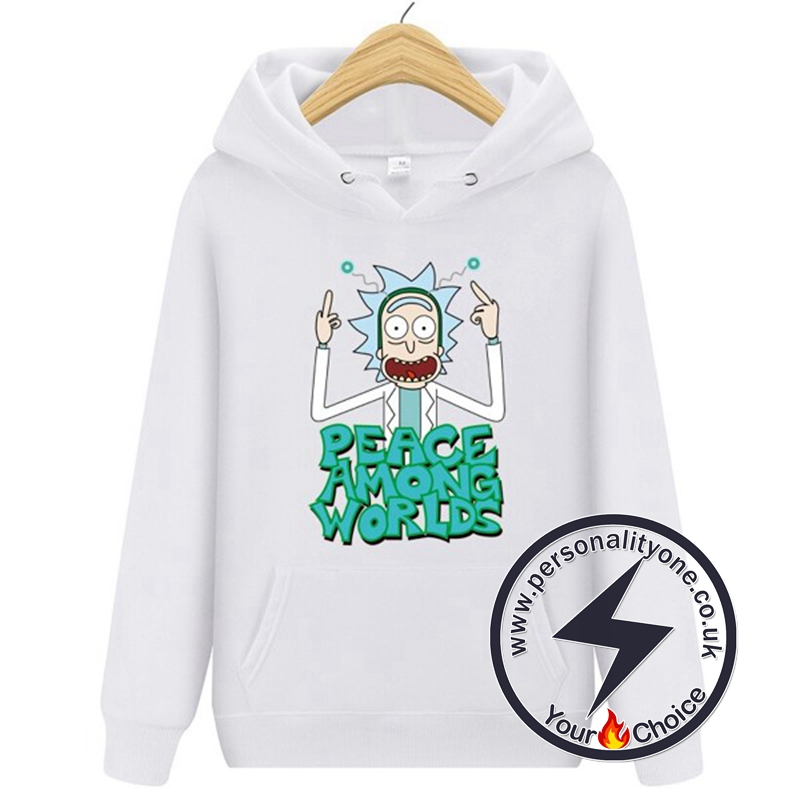 New Peace Among Worlds Rick And Morty Hoodies white
