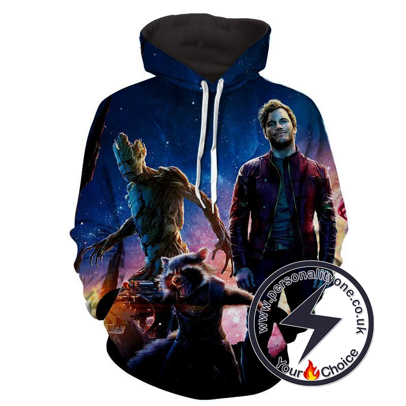 Peter Quill-Raccoon-Groot 3D - Guardian Of Galaxy Hoodies