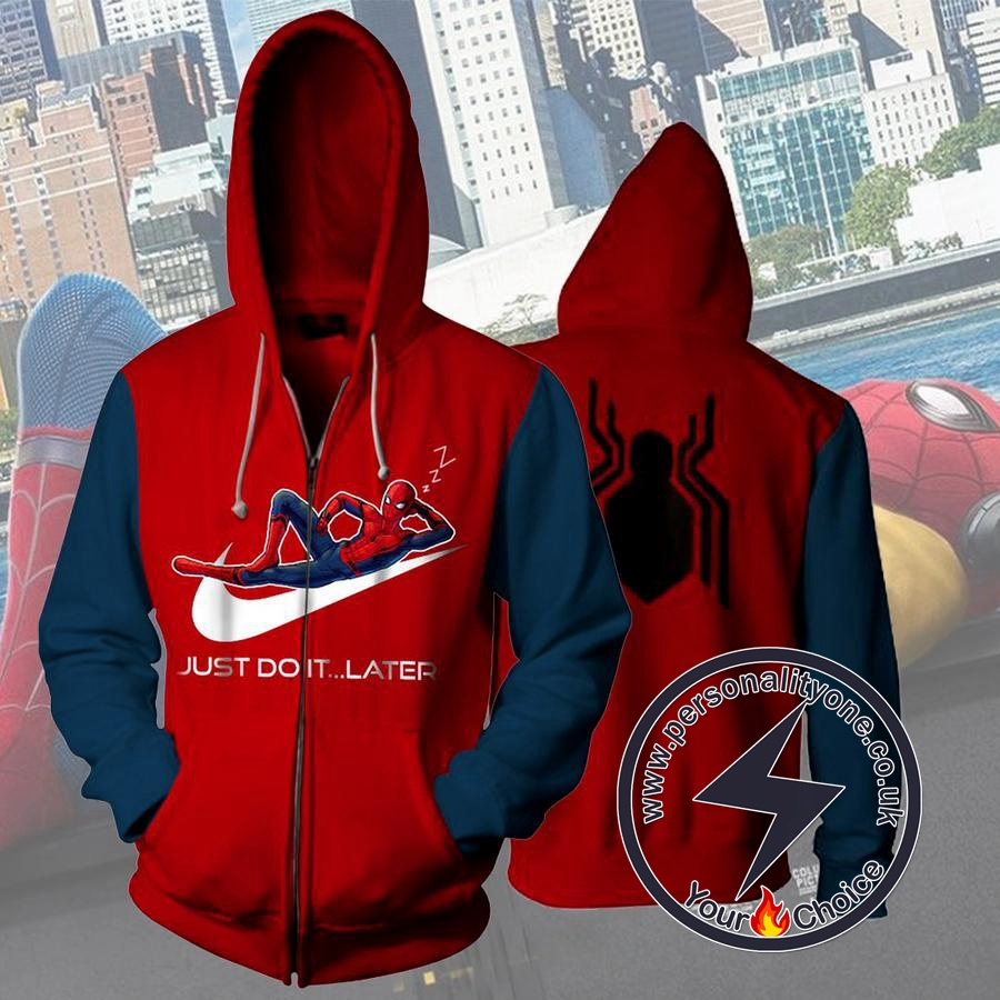 Spider Man Just Do It Later 3D Hoodies - Zip Up - Spiderman 3D