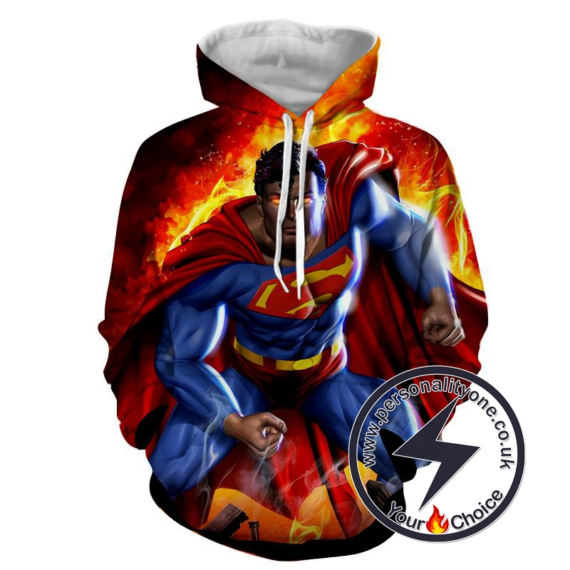 Super Man On Fire - Superman Sweat Shirt - Superman Hoodies