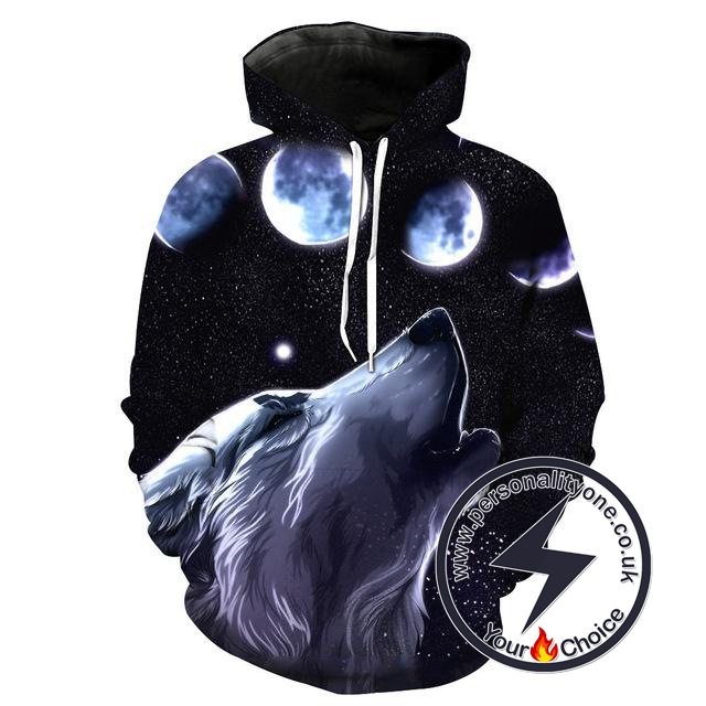 Wolf Howling Moon - Wolf 3D - Wolf Hoodies