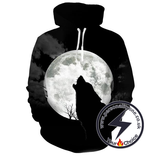 Wolf Howling Night Moon - Wolf 3D - Wolf Hoodies
