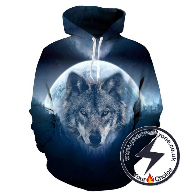 Wolf Moon - Wolf 3D - Wolf Hoodies